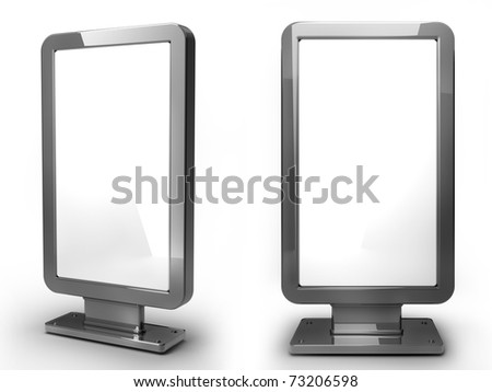 Chrome advertising billboard isolated on white background 3d render - stock photo