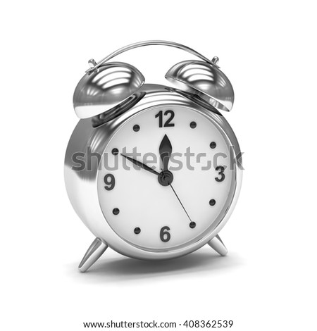 Chrome alarm clock on white. 3d rendering. - stock photo
