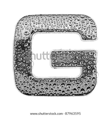 chrome alphabet symbol - letter G. Water splashes and drops on glossy metal. Isolated on white - stock photo