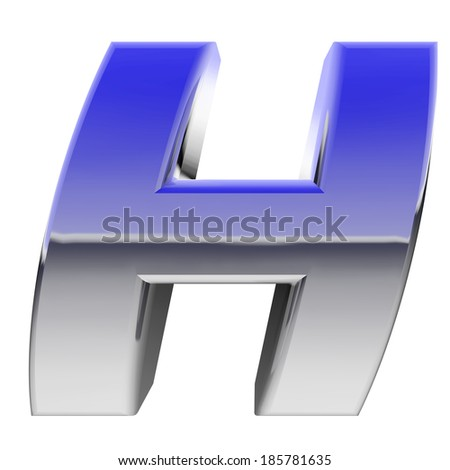 Chrome alphabet symbol letter H with color gradient reflections isolated on white. High resolution 3D image  - stock photo