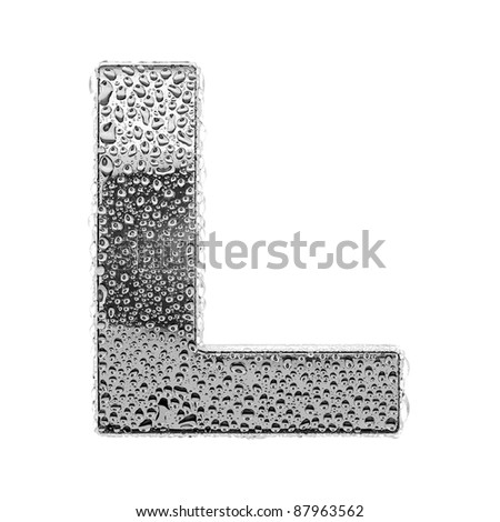 chrome alphabet symbol - letter L. Water splashes and drops on glossy metal. Isolated on white - stock photo