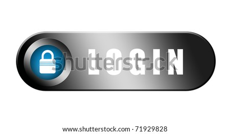 Chrome and blue log in button over white background - stock photo