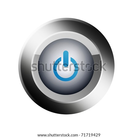 Chrome and blue star button over white background. Illustration - stock photo