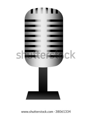 Chrome and old microphone over white background