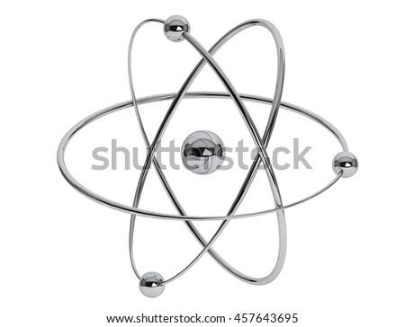 Chrome Atom, Molecule Icon on a white background. 3d Rendering - stock photo