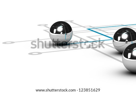 chrome ball linked by a blue line, grey network with other balls, illustration over white background, concept of networking - stock photo