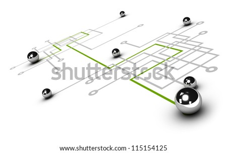 chrome ball linked by a green line, grey network with other balls, illustration over white background, concept of networking - stock photo