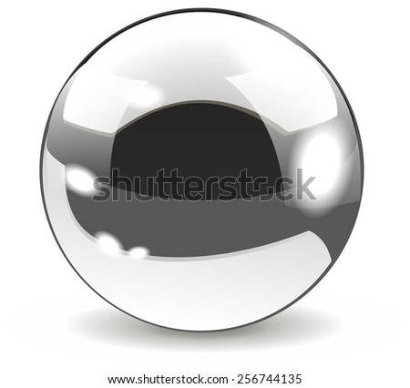 Chrome ball - metallic  sphere. Isolated on white background