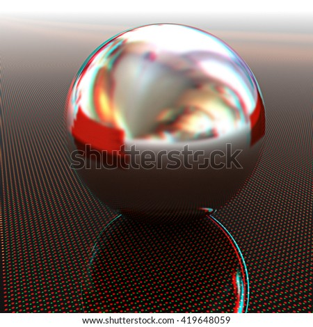 Chrome ball on light path to infinity. 3d render . 3D illustration. Anaglyph. View with red/cyan glasses to see in 3D.