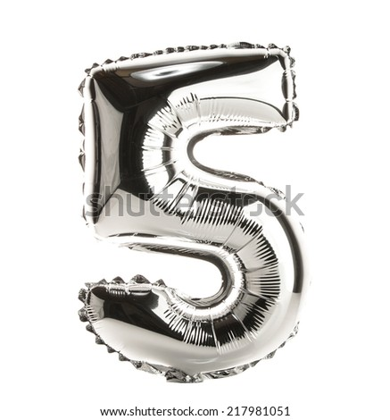 Chrome balloon font part of full set of numbers, number 5, five - stock photo