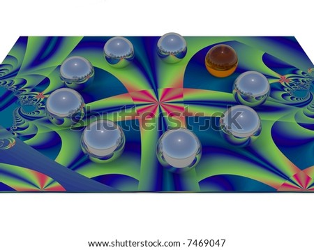 Chrome balls placed on a fractal in circle. One is colored orange. - stock photo