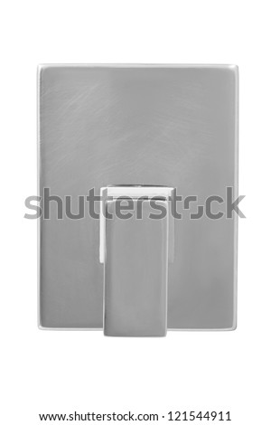 chrome bathroom valve isolated on white. - stock photo