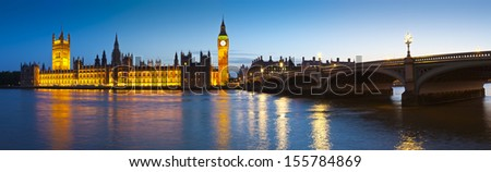 Chrome blue sky reflections over the neo-gothic Houses of Parliament, iconic Big Ben (1834) and sweeping arches of Westminster bridge in the heart of london. - stock photo