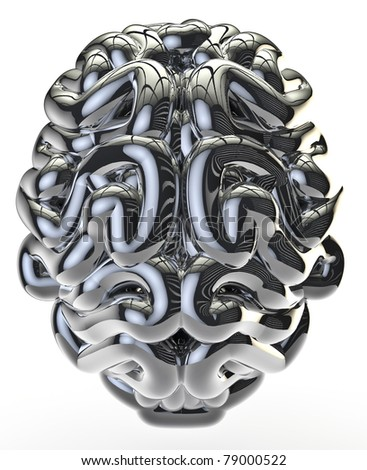 Chrome brain - stock photo