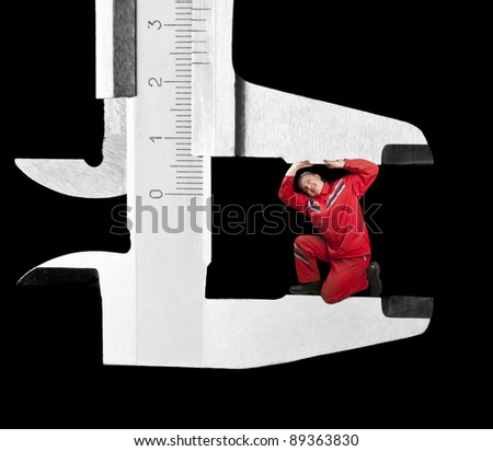 Chrome caliper measuring mechanic. Isolated on black - stock photo