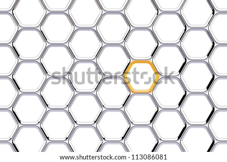Chrome chain with a orange link on white background - stock photo