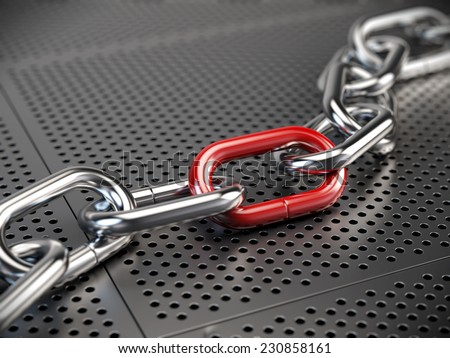 Chrome chain with a red link - stock photo