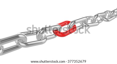 Chrome chain with a red link at the center. - stock photo