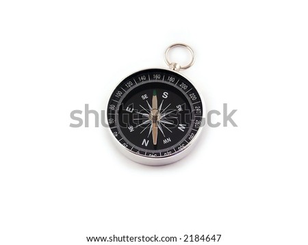 Chrome compass isolated on white background - stock photo