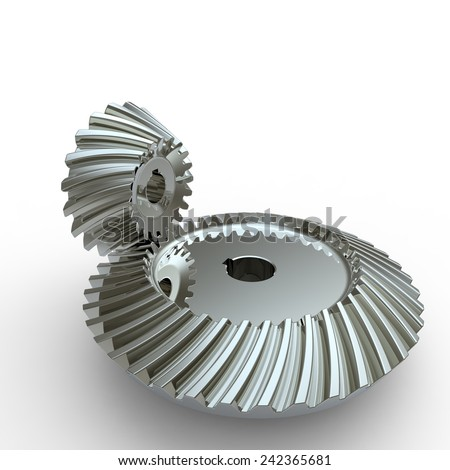 Chrome crown and pinion spiral bevel gears on a white background - stock photo