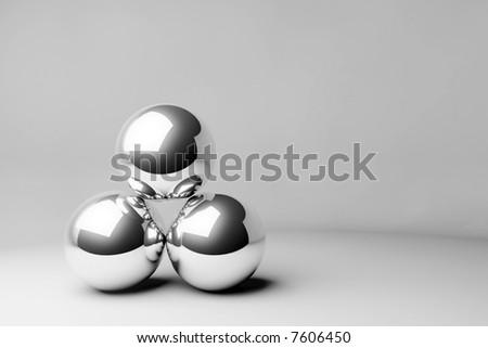 chrome 3D spheres - stock photo