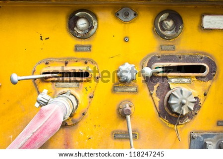 Chrome dials and valves on an old  car equipment] - stock photo