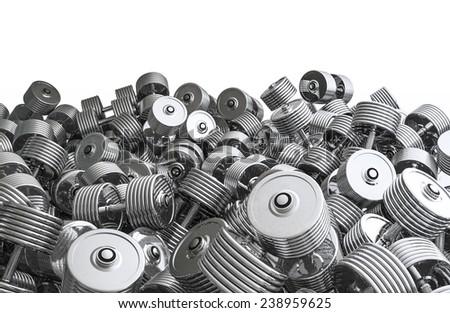 Chrome dumbbell pile - stock photo