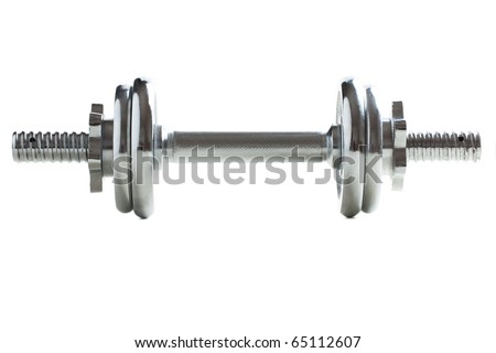 chrome dumbell on white background - stock photo