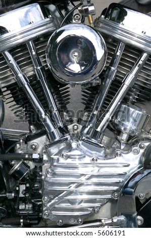 Chrome engine on a custom motorcycle close up.