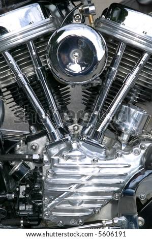 Chrome engine on a custom motorcycle close up. - stock photo