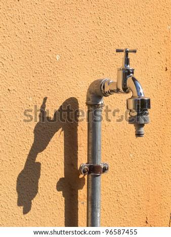 Chrome faucet - stock photo