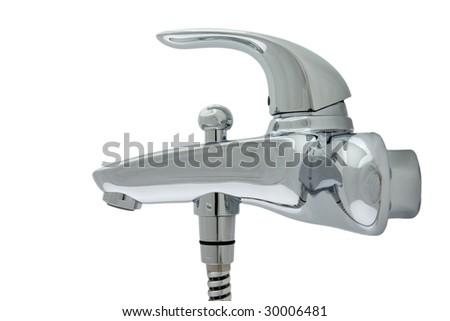 chrome faucet on white background - stock photo