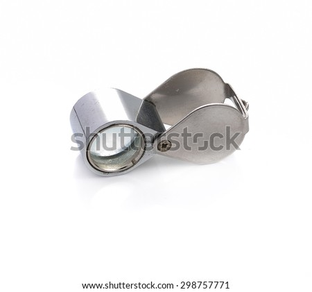 Chrome for Grading Diamonds Lupe Dimond isolated on a white background with expanded camera. - stock photo
