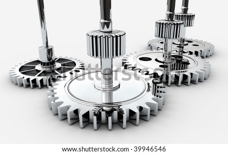 Chrome gears isolated on a light background