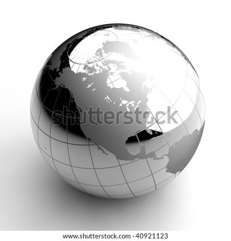 Chrome Globe on white background - stock photo