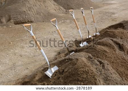 Chrome Ground Breaking Shovels - stock photo