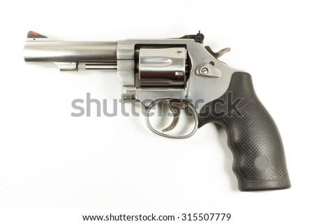 chrome gun .38mm on white background - stock photo