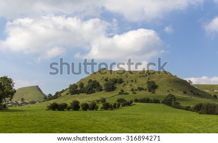 Chrome Hill and Parkhouse Hill, Peak District, Derbyshire, England are reef knolls formed in the Carboniferous period - stock photo