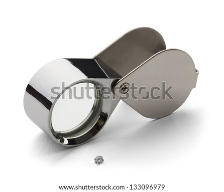 Chrome Jewelers lupe for Diamond Grading with Dimond Isolated on a White Background. - stock photo