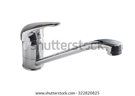Chrome kitchen faucet, cut out from background.