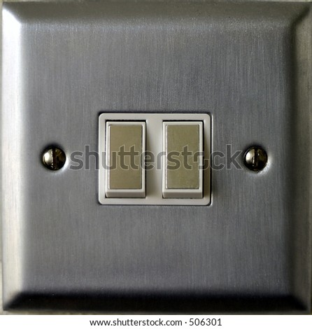chrome light switch double gang - stock photo