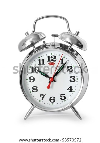 Chrome metal alarm clock isolated on white background - stock photo