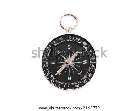 Chrome metallic compas (compass) over a white background - stock photo