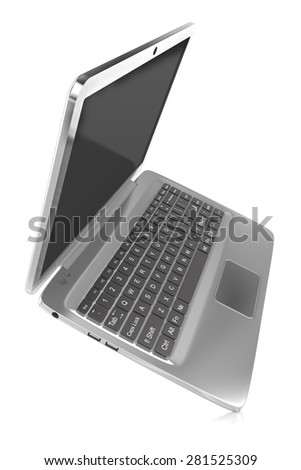 Chrome , metallic laptop isolated on white background with soft shadow