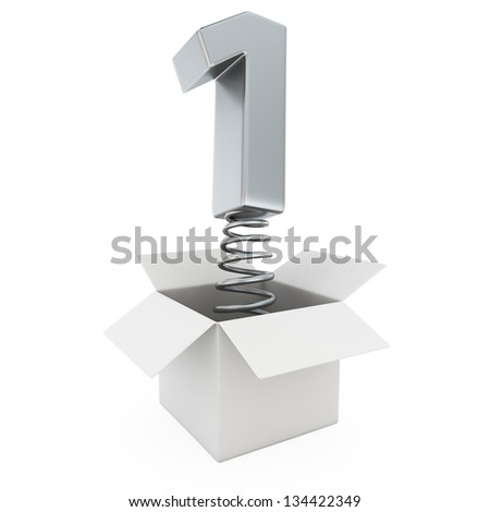 Chrome number one on spring in the gift box - stock photo