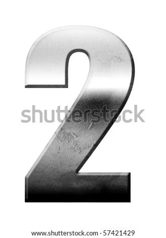 Chrome number two over white background, Metallic texture - stock photo