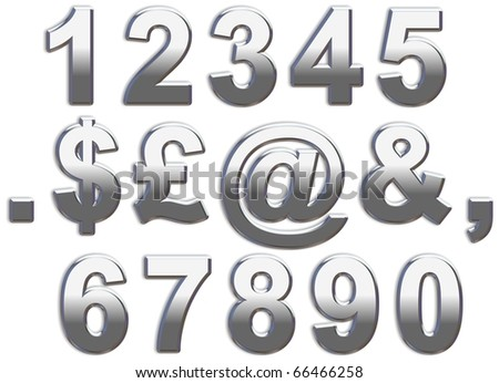 Chrome Numbers on white - stock photo