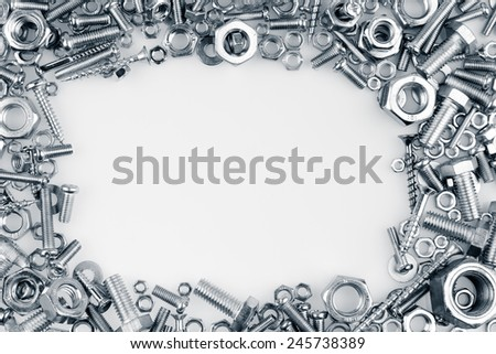 Chrome nuts and bolts, copy space