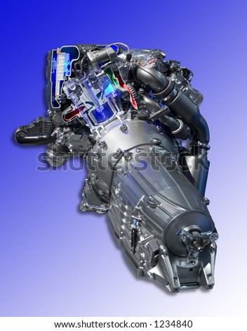 Chrome plated and neon lighted vehicle engine. Also shows some mechanism cross-section, very high tech looking. Completely isolated from background with clipping paths, very neatly masked