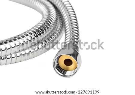 Chrome plated shower pipe, isolated on white background, DOF - stock photo